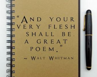 Poetry Notebook, Writing Notebook, Walt Whitman,  Journal, Spiral Notebook, Lined, Blank, Dot, Chalkboard Cover