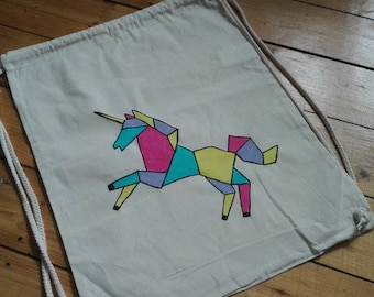 Kitbag origami Unicorn in pastel shades, multi colored, hand painted