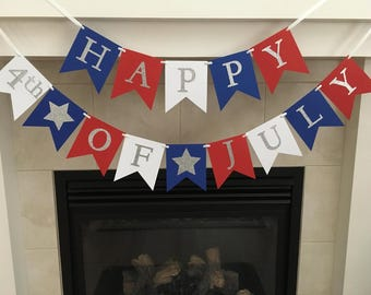 Happy 4th of July Banner, Happy Fourth, Independence Day Decoration, Patriotic Banner, Red White and Blue, Stars, Photo Prop