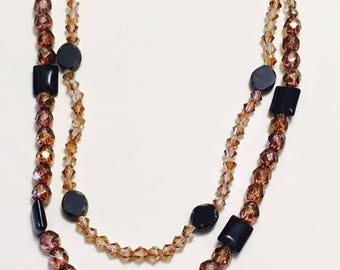 2 Strand Crystal Necklace with Black Onyx Stone Pendant