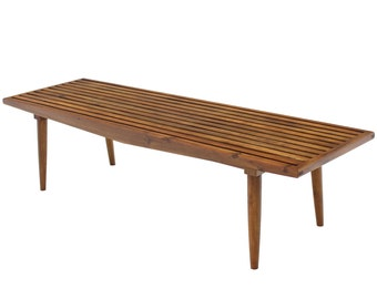 Danish Mid Century Modern Oil Walnut Finish Slat Bench or Coffee Table Nelson Style