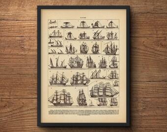 Vintage sailing print – Coastal art, Framed art, Framed poster, Nautical prints, Beach art, Vintage art, Tropical art, Clipper ship