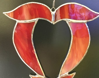 Stained glass valentine heart suncatcher tiffany style