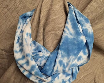 Light Infinity Scarf , Blue and White , Rayon Scarf , Tie Dyed Circle Scarf, Bright Scarves , Spring Accessory , womens loop scarf , SC117