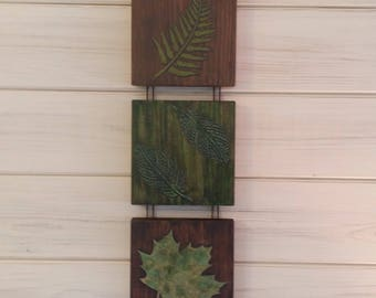 Leaf wall art,nature painting, green wall hanging ,FREE POSTAGE