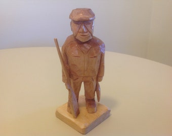 Hand carved hunter, hunter carving, wood carving, carved hunter, hunter, carved man hunting, wood carvings, handmade, hand carved, gift