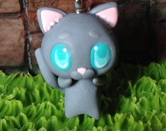 cute gray cat polymer clay charm, gray cat keychain clay, kawaii gray cat with blue eyes, gray cat charm polymer clay, kawaii cat, cute cat