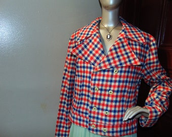 Vintage Double Breasted Checkered Jacket
