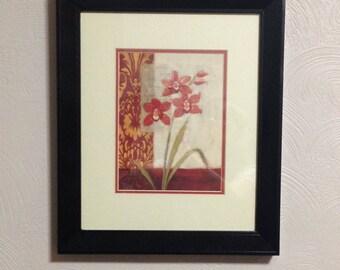 FRAMED WALL ART, Black Frame Floral Print, Red, Cream, Bathroom Wall Art, Wall Art Framed Floral Print, Daylilies, Flower Wall Art