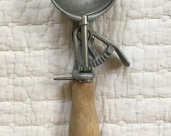 Vintage Peerless Ice Cream Scoop with Wood Handle