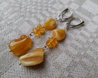 Genuine Baltic Amber Butterscotch Earrings 925 Sterling Silver (0020)