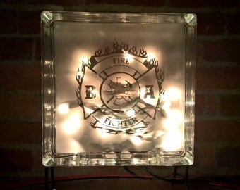Fire Fighter Etched Lighted Glass Block
