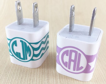 Set of 2 iPhone Charger Wraps - Monogram Charger - Custom iPhone Charger Wrap - Personalized Charger Sticker - Charger Decal -  Teen Gift