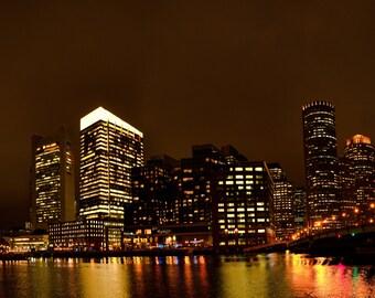 Boston Skyline at Night - Wall Decor - Panorama