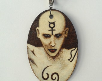 Marilyn Manson The Nobodies Woodburned Oval Necklace Phase1