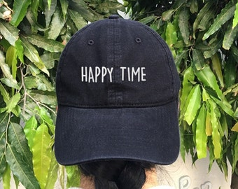 HAPPY TIME Embroidered Denim Baseball Cap Cotton Hat Unisex Size Cap Tumblr Pinterest