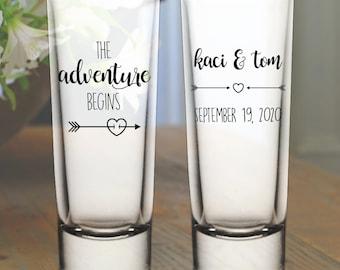 "Custom ""The Adventure Begins"" Tribal Arrows 2-Sided Tall Wedding Favor Shot Glasses"