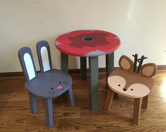 Kids table & chairs | Hand painted poppy flower table | Children's wood furniture | Woodland animal stools | Toddler chairs
