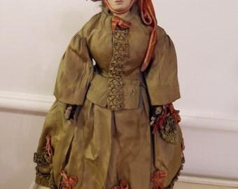 "14"" Antique Papier Mache Shoulderhead Artist Doll in Green Period Gown and Hoop"