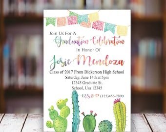 Cactus Watercolor Fiesta Graduation Invitation Digital File
