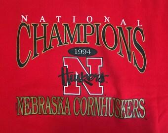 Nebraska Cornhuskers sweater, 1994 Nebraska Cornhuskers, Nebraska National Champions Sweater, 1994 Nebraska Cornhuskers Crewneck, 90s, 1994