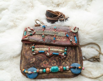 Vintage Leather Stone Decorated Moroccan Bag