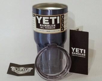 YETI - Authentic 30 oz Rambler Tumbler Metallic Light BLUE Cup Mug Powder Coated Yeti Cup, Light Gray Yeti cup, Light Blue Yeti Cup Mug 30oz