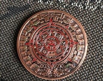 Red brass Aztec Mayan Calendar