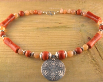 Carnelian and Coral Bambou Necklace