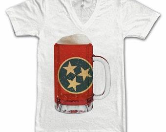 Ladies Tennessee State Flag Beer Mug Tee, Home State Tee, State Pride, State Flag, Beer Tee, BBeer T-Shirt, Beer Thinkers, Beer Lovers Tee