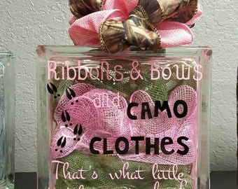 Ribbons and Bows Lighted Glass Block