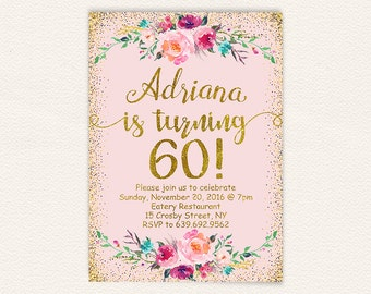 Floral 60th birthday invitation pink and gold glitter, womens 60th birthday party invite, printable digital file jpg 5x7 size 11a