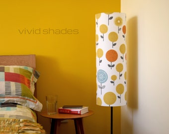 Tall lampshade with floor lamp base option, funky retro stylised flower fabric, handmade by vivid shades, lovely abstract floral pattern