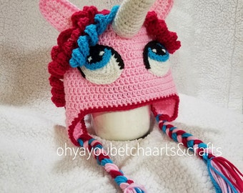 Crochet Pattern For A Unicorn Hat : Crochet unicorn hat Etsy