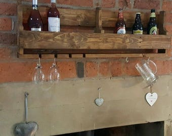 Rustic pallet wood his and hers wine beer real ale rack unique gift kitchen unit