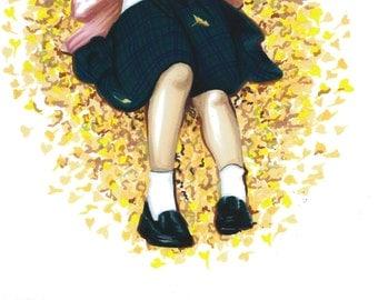 "Art drawing print illustration ""Autumn"""