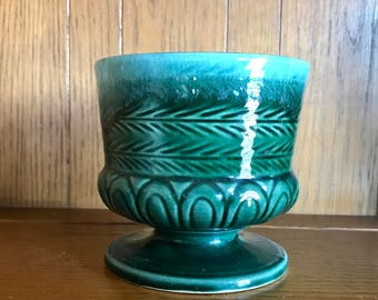 HULL USA pottery blue green planter, collectible, vintage