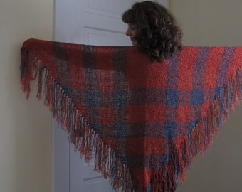 Orange and Blue Plaid Shawl