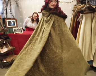 Sage Green Chenille Fully Lined Winter Cloak
