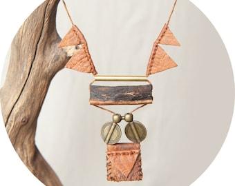 Necklace wood cherrywood handmade primitive