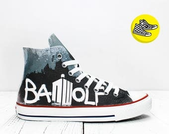 Bad Wolf Doctor Who custom made converse sneakers TARDIS design shoes