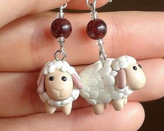 Sheep Totem with Garnet Earrings