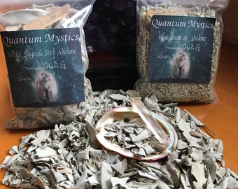 White Sage Smudge Kit~ Red Abalone with Quartz , Loose smudge, meditation, spiritual, herbs