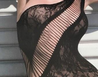 Women's Fishnet Mini Dress Lingerie Black Onesize.