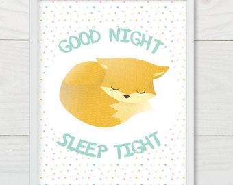 Sweet&Simple Fox Nursery Wall Art Printable, Fox Sleeping, Good Night Sleep Tight, Fox Nursery Decor Printable, Digital Art Download