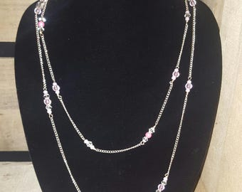 Pink Bead and Metal Necklace
