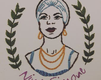 Hand Embroidered Portrait - Nina Simone