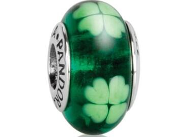 Pandora Charms Kiss Me I'm Irish Murano Glass Charm Bead Green Clover Authentic Pandora