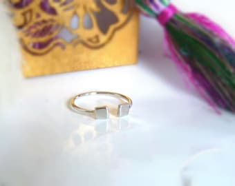 Adjustable ring in sterling silver with 2 squares or 2 hearts and sterling silver bathed in gold
