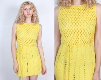 70s Crochet Mini Dress // Vintage Sheer Yellow Tassel Tie Open Weave Knit - Small to Medium